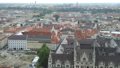 Munich or otherwise known as Munchen as seen from a church tower.