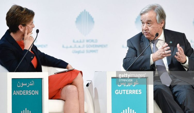 Becky Anderson and UN Sec General Antonio Guterres at the World Government Summit | GETTY IMAGES